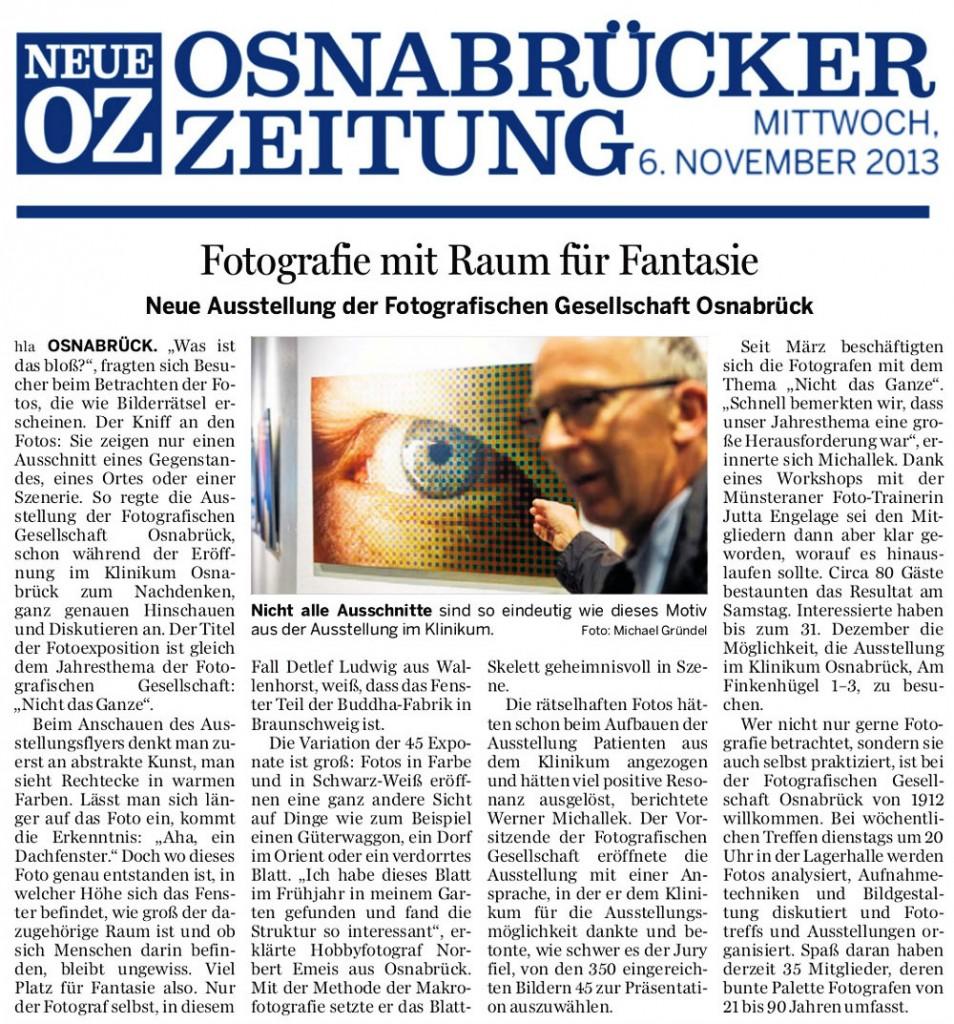 """Bericht der Neue Osnabrücker Zeitung vom 06.11.2013 zur Ausstellung """"Nicht das Ganze"""""""